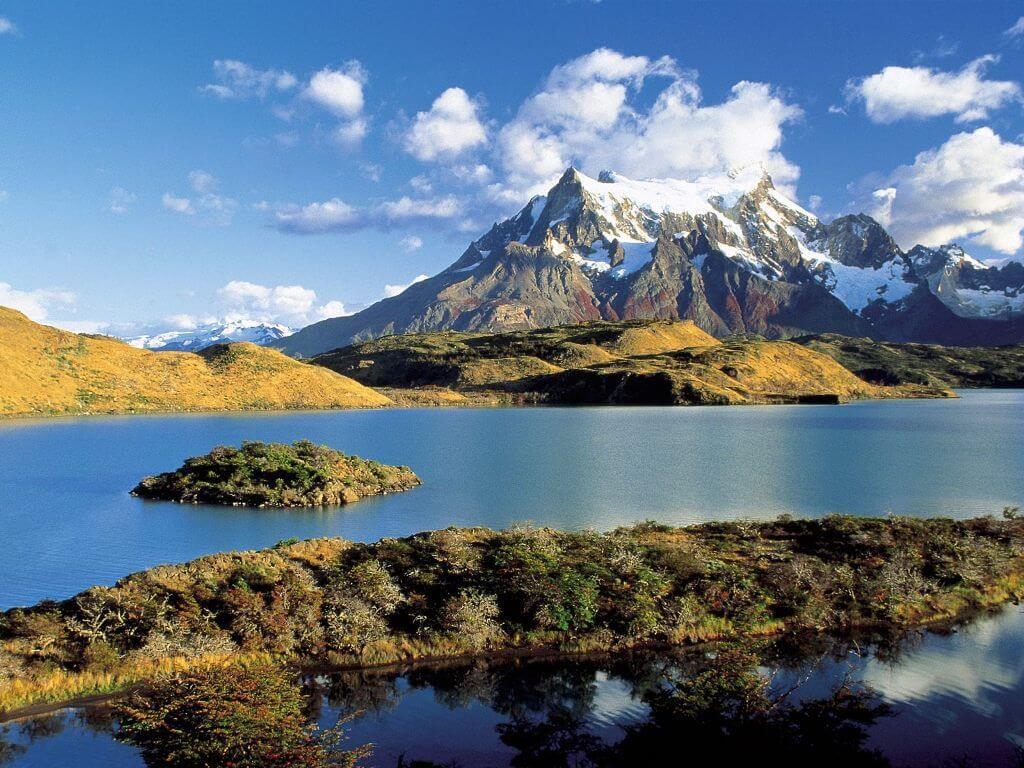 Lac Pehoé, sud de la Patagonie au Chili